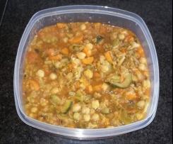 Guisado vegetariano de legumes e grão
