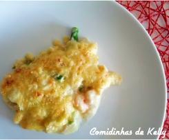 Bacalhau com espargos e camarão