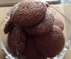 Biscoitos de chocolate e flocos de aveia